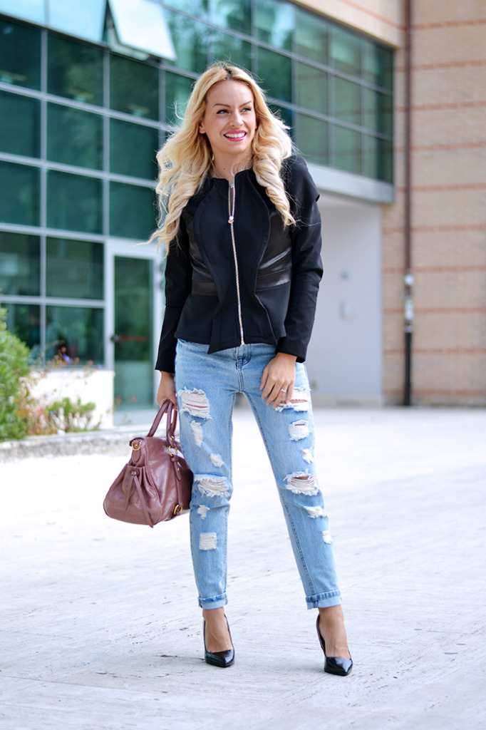 Black Jacket & Ripped jeans