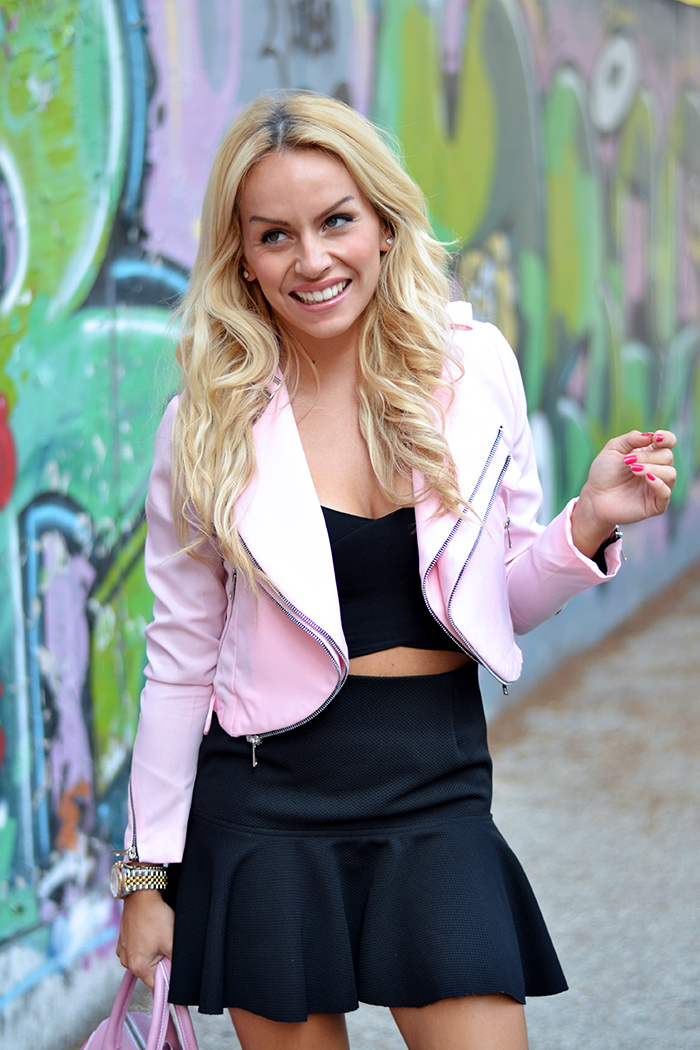 Zara pink jacket, crop jacket, Choies black skirt, Arcadia Bags bolsas – outfit fall 2014 italian fashion blogger It-Girl by Eleonora Petrella