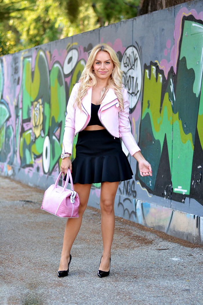 Zara pink jacket, crop jacket, Choies black skirt, Arcadia Bags bolsas – outfit fall 2014 italian fashion blogger It-Girl by Eleonora Petrella