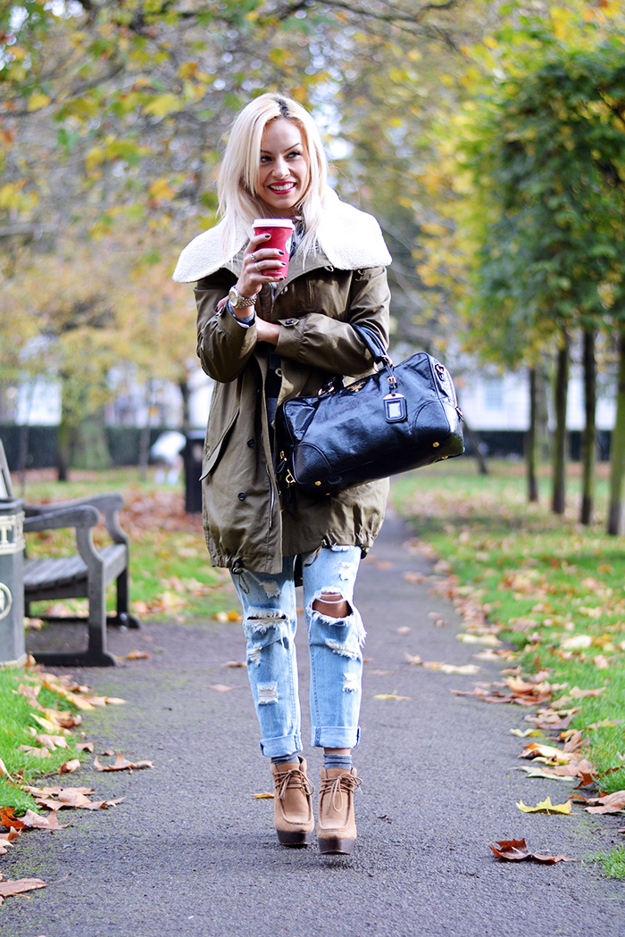 Ventifive abbigliamento italiano, modelli parka inverno 2014, parka coat outfit ideas, look Londra, ripped jeans – fashion blogger It-Girl by Eleonora Petrella