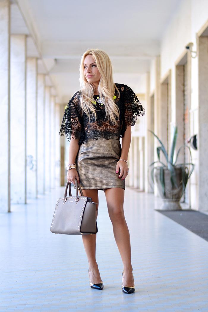 Ginger London, mini skirt, lace top, fall looks 2015, gold trend fall winter 2014, Michael kors Selma bag, Sergio Levantesi shoes heels scarpe – Italian fashion blogger It-Girl by Eleonora Petrella