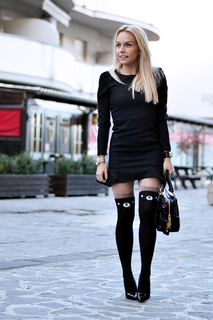 Black Dress, vestito nero, little black dress, black coat, calze collant particolari inverno 2014 - outfit It-Girl by Eleonora Petrella