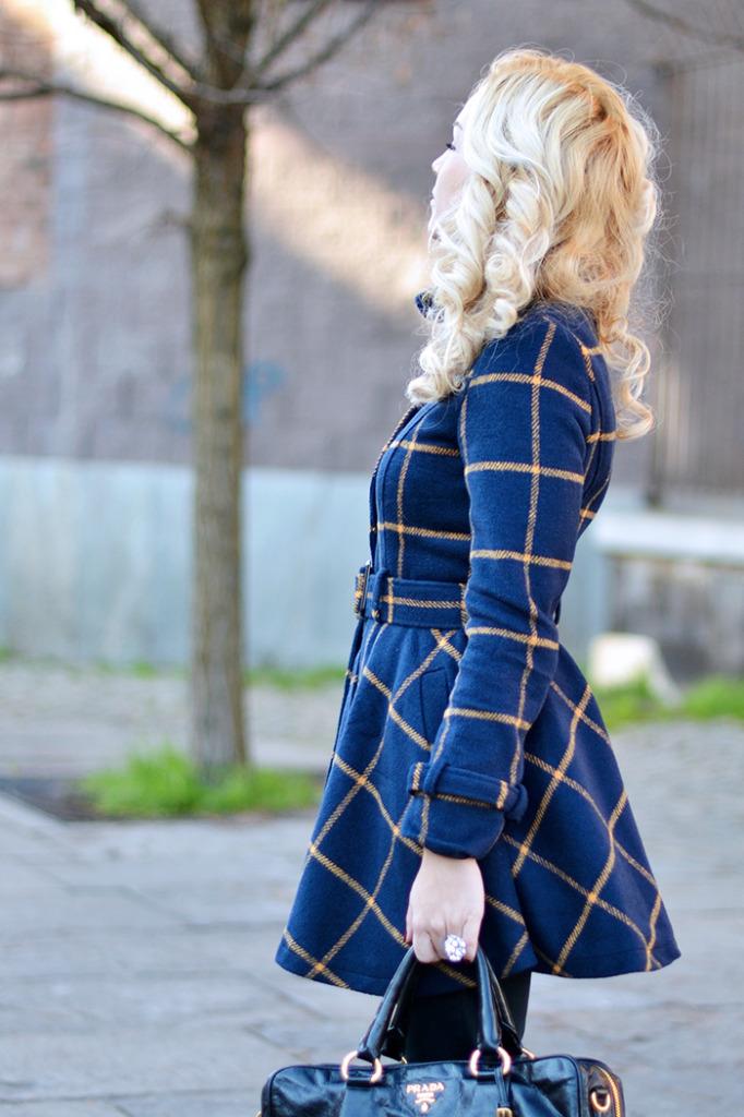 Plaid belted coat