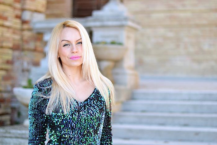 Sequined dress, vestito con paillettes, vestito occasioni speciali, dress with sequins, Ottaviani clutch, Zara high heels - outfit italian fashion blogger It-Girl by Eleonoa Petrella