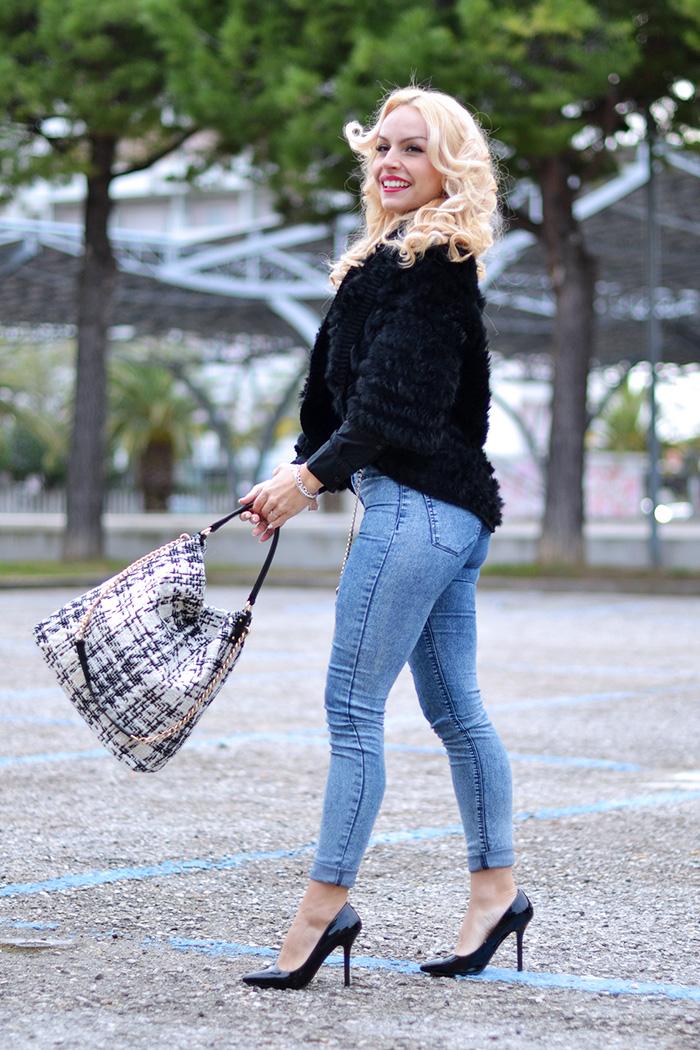 Borse Le Camp, fur jacket, faux fur trend winter 2015, skinny jeans, come indossare i jeans a vita alta, idee look jeans a vita alta, outfit ufficio – fashion blogger It-girl by Eleonora Petrella