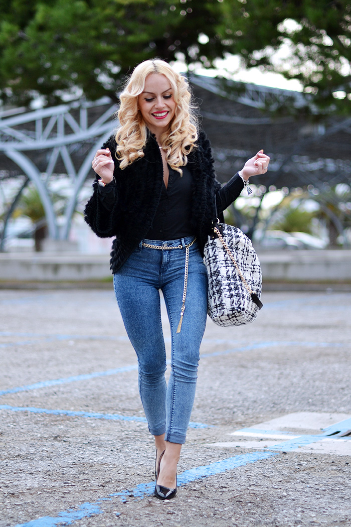 Borse Le Camp, fur jacket, faux fur trend winter 2015, skinny jeans, come indossare i jeans a vita alta, idee look jeans a vita alta, outfit ufficio – fashion blogger It-girl by Eleonora Petrella