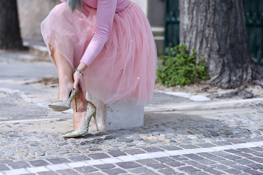 How to wear a Tutu skirt, tulle skirt, Chicwish Italia, Miss Guided heels, pink look idea, spring outfit, idea look elegante particolare primavera 2015 It-Girl by Eleonora Petrella