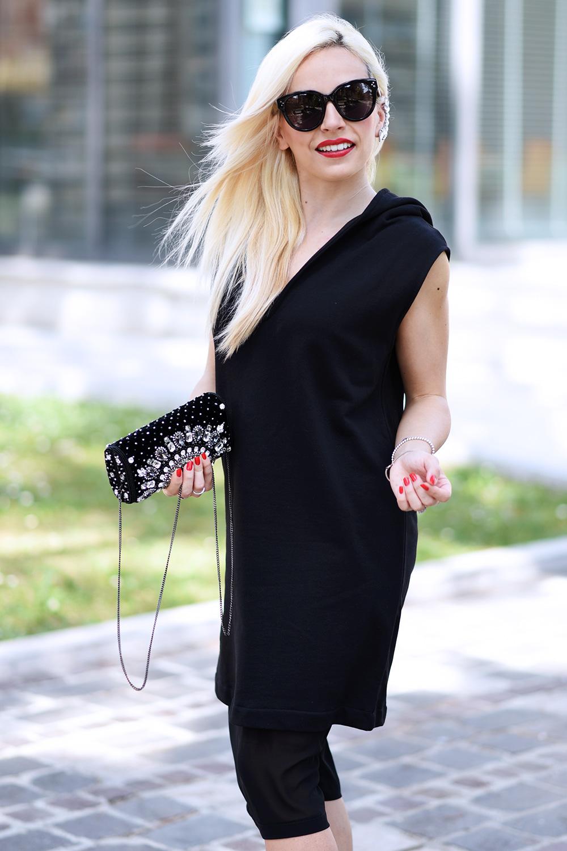 q61, qsixtyone, earcuff, outfit total black, Cèline Audrey sunglasses, Ottaviani clutch gioiello, outfit primavera 2015, chic black Magnum – fashion blogger It-Girl by Eleonora Petrella