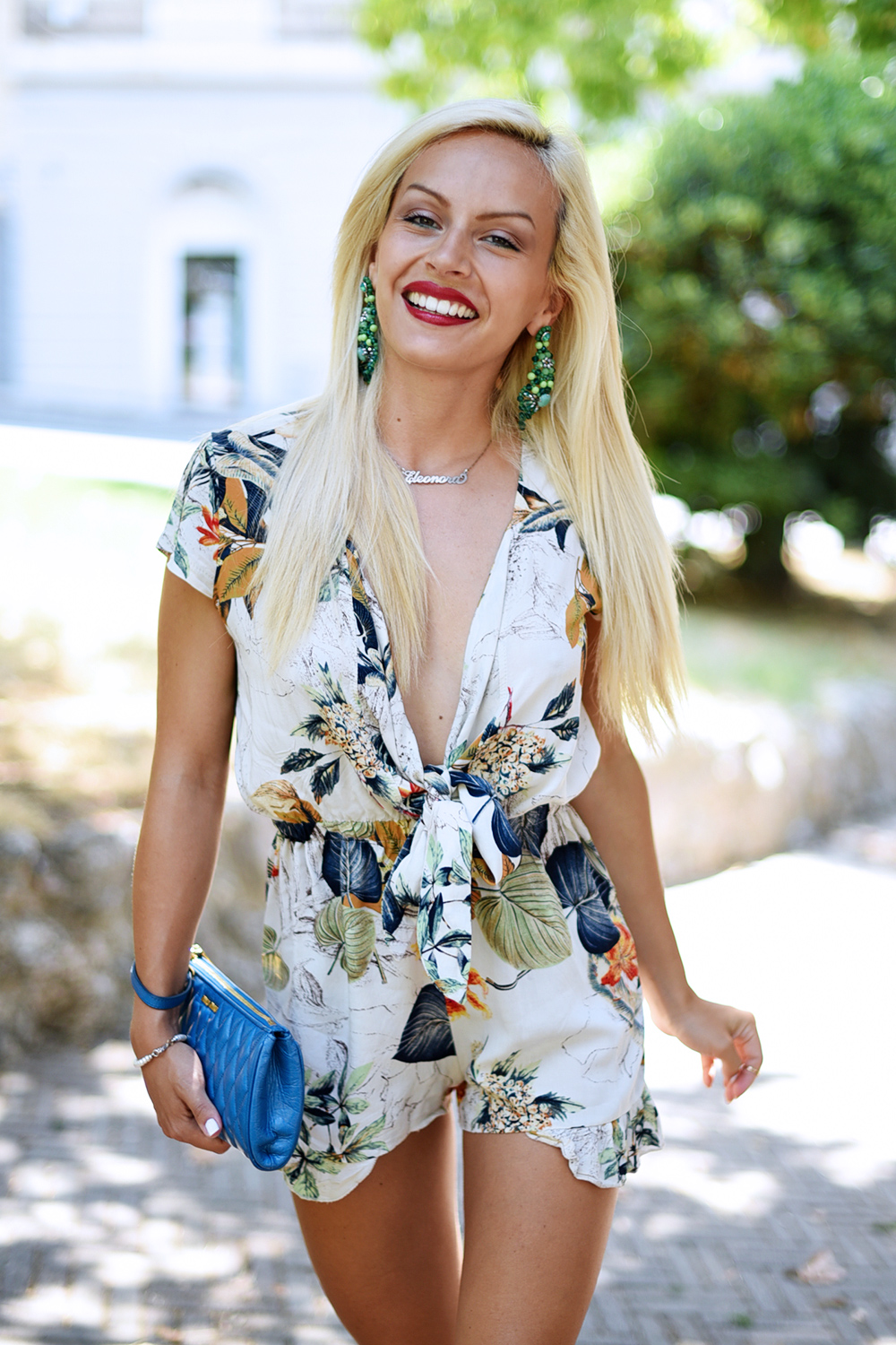 Lookbook Store, playsuit, tendencia mono, flower jumpsuit playsuit, tute estive, Miu Miu clutch, outfit summer 2015 - fashion blogger It-Girl by Eleonora Petrella