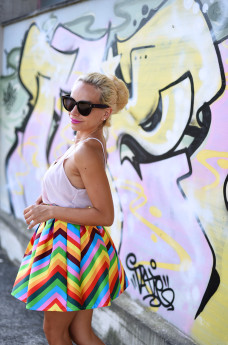 gonna a righe, sheinside Italia spedizioni, striped skirt, Metropolis Furla prezzo, Furla Metropolis nera, outfit summer 2015 - fashion blogger It-girl by Eleonora Petrella