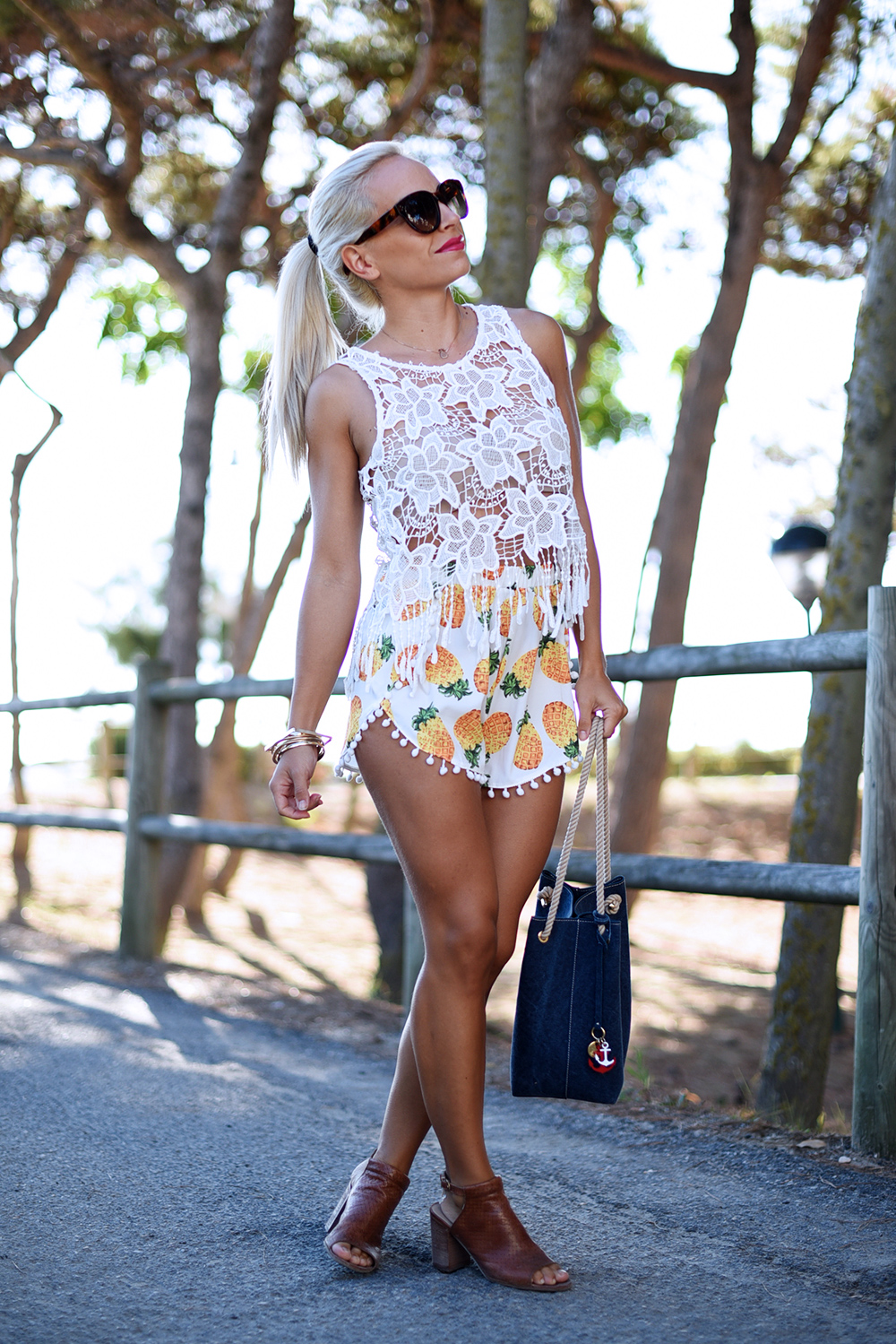 pineapple print, stampa ananas, boho look, flor Amazona bogotà, outfit summer 2015, Choies spedizioni - fashion blogger It-Girl by Eleonora Petrella