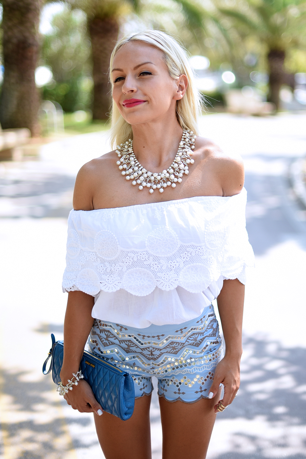 Chicwish italia, chicwish spedizioni, pantaloncini a vita alta, off shouder top, camicie spalle scoperte top – outfit summer 2015 fashion blogger It-Girl by Eleonora Petrella