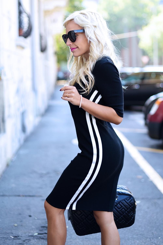 Hogan scarpe sneakers, Hogan H283, borse Hogan, how to wear a black dress, vestito con scarpe sportive da ginnastica - outfit Milan Fashion week fall 2015 It-Girl by Eleonora Petrella