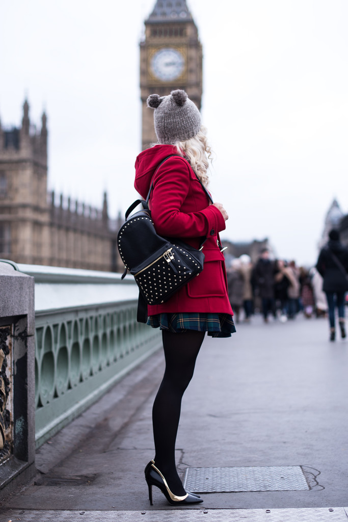 A red Montgomery on Westminster Bridge – London