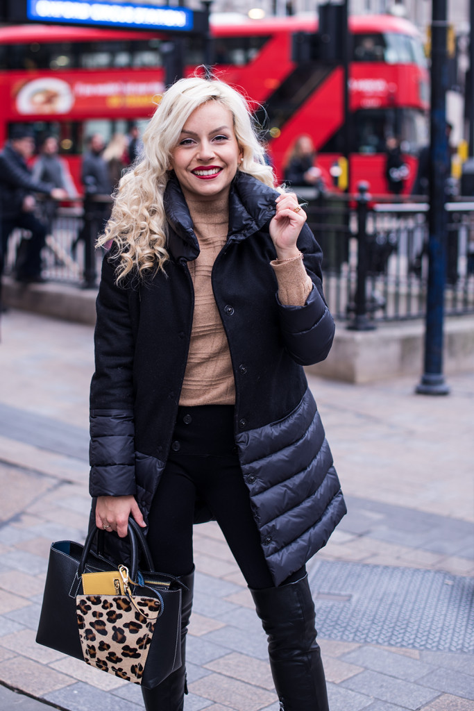 Oxford Street with my fav black coat – London