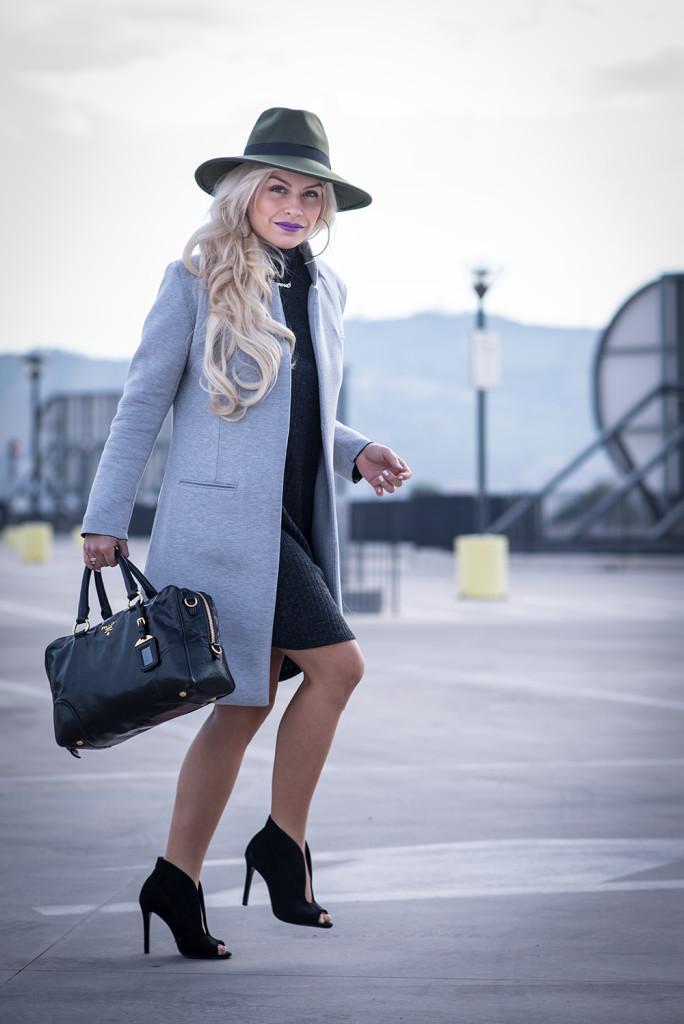 Grey knitted dress + Grey maxi coat