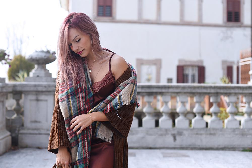 Cardigan lungo (oversize) + vestito mini